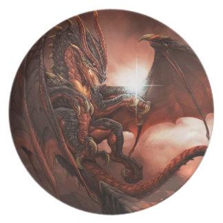 Magical & Mystical Fantasy Flying Dragon Heart Plate