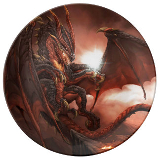 Magical & Mystical Fantasy Flying Dragon Heart Plate