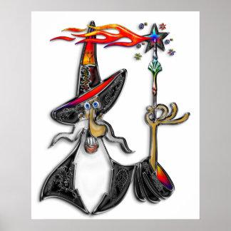 Magical Mystical Fire Wizard Magician Poster