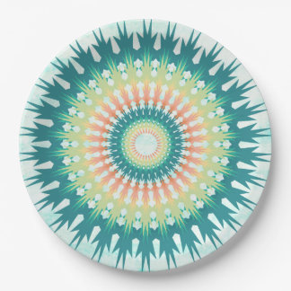Magical Mystical Mandala Turquoise Orange Plates 9 Inch Paper Plate
