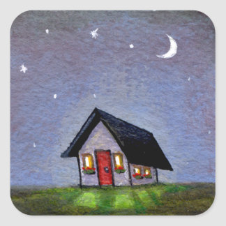 Magical night cottage art starry sky fun painting square sticker