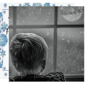 Magical Night Santa Flying Across the Moon Card