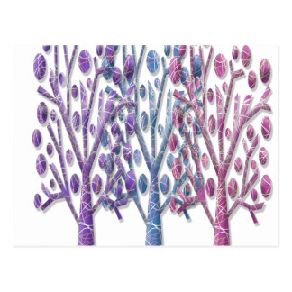 Magical pastel trees postcard