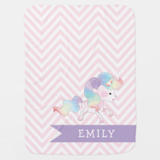 Magical Pastel Unicorn with Name Stroller Blankets