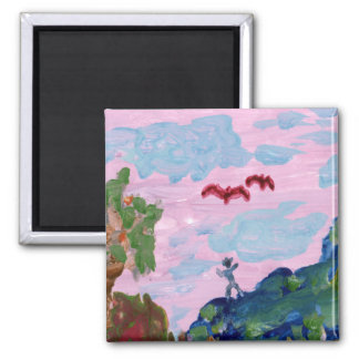 Magical pink landscape with figures (detail) magne magnet