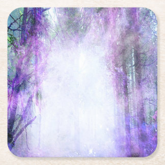 Magical Portal in the Forest Square Paper Coaster