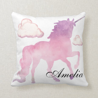 Magical Powdery cotton candy Unicorn in Watercolor Throw Pillow