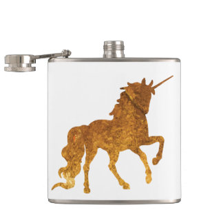 Magical prancing golden unicorn party gift hip flask