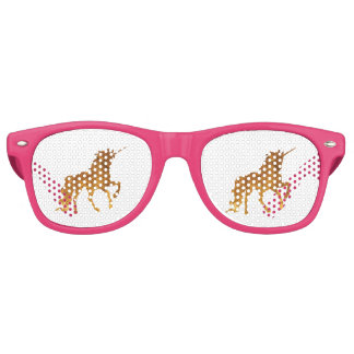 Magical prancing golden unicorn party gift retro sunglasses