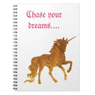 Magical Prancing golden Unicorn various colors Spiral Notebook