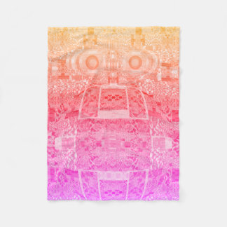 Magical Psychedelic Robot Pattern Pink Blanket