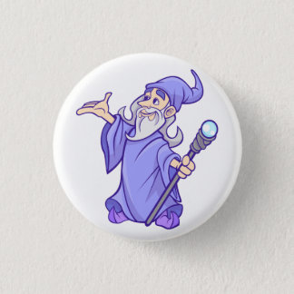 Magical purple wizard magician sorceress 1 inch round button