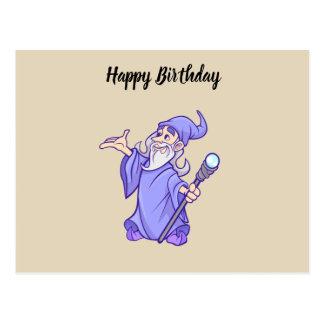 Magical purple wizard magician sorceress postcard