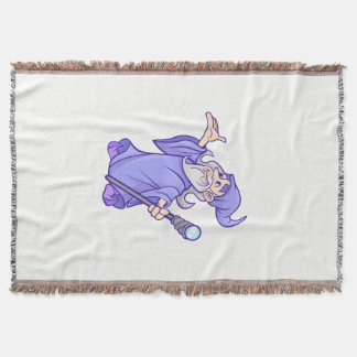 Magical purple wizard magician sorceress throw blanket