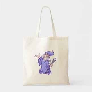 Magical purple wizard magician sorceress tote bag