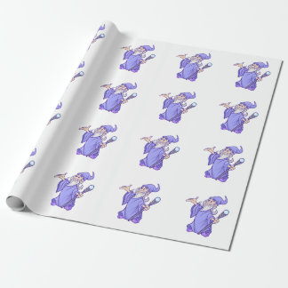 Magical purple wizard magician sorceress wrapping paper