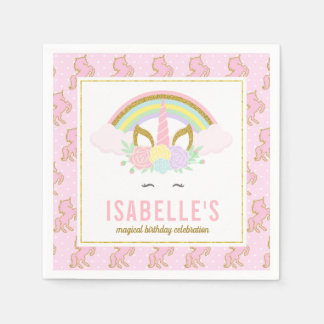 Magical Rainbow and Unicorn Napkins
