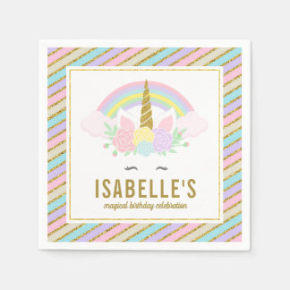 Magical Rainbow and Unicorn Napkins Disposable Napkins