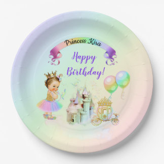 Magical Rainbow Princess Castle Carriage Paper Plate