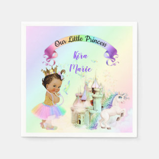 Magical Rainbow Princess Castle Unicorn Napkin