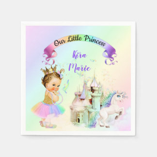 Magical Rainbow Princess Castle Unicorn Paper Napkin