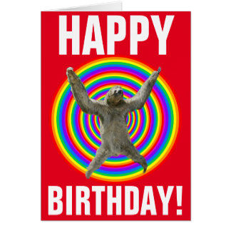 Magical Rainbow Sloth Birthday Card