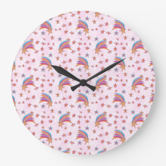 Magical Rainbow Stars Large Clock
