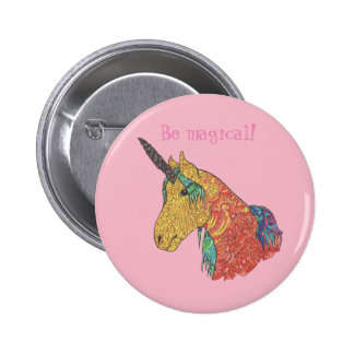 Magical rainbow unicorn 2 inch round button