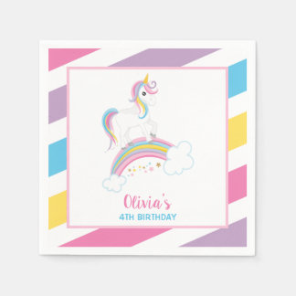 Magical Rainbow Unicorn Birthday Paper Napkin