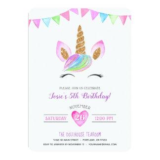 Magical Rainbow Watercolor Unicorn Birthday Card