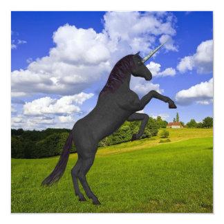 "Magical Rearing Unicorn 5.25"" Square Invitation Card"