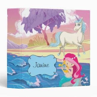 Magical Riverbank with Fairies Unicorn and Mermaid Binders