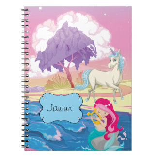 Magical Riverbank with Fairies Unicorn and Mermaid Notebooks