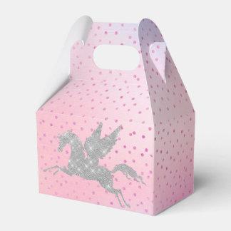 Magical silver unicorn party favor box