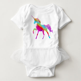 Magical sparkly rainbow prancing unicorn baby bodysuit