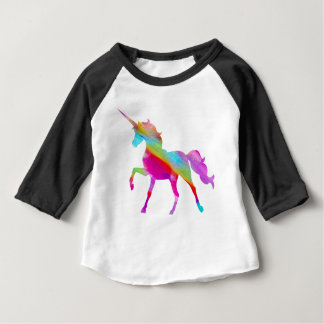 Magical sparkly rainbow prancing unicorn baby T-Shirt