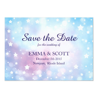"Magical stars Save the Date wedding in blue & pink 5"" X 7"" Invitation Card"