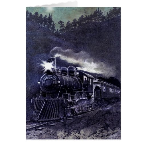 Magical Steam Engine Victorian Train Greeting Cards