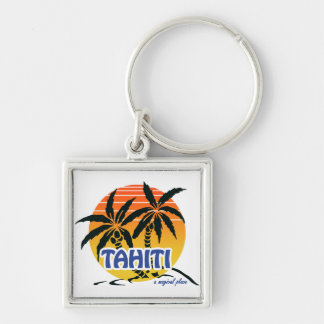 Magical Tahiti Silver-Colored Square Keychain