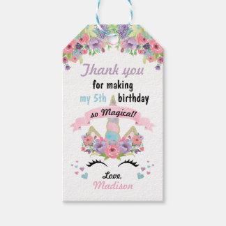 Magical Unicorn Birthday Favor Gift Tags Pack Of Gift Tags