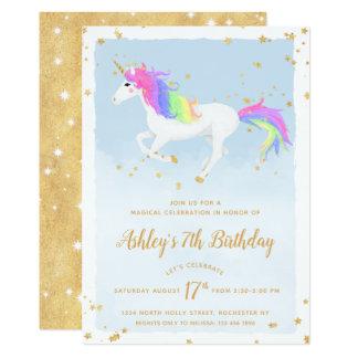 Magical Unicorn Birthday Invitation | Gold Rainbow