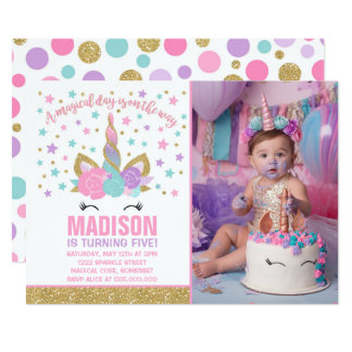 Magical Unicorn Birthday Invitation Pink Gold