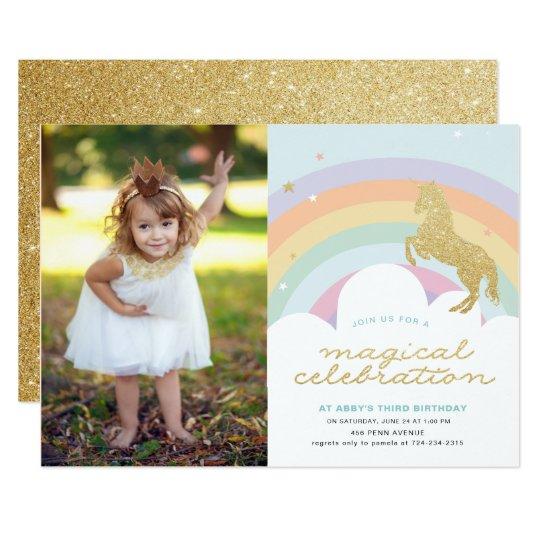 MAGICAL UNICORN BIRTHDAY PARTY INVITATION