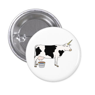 Magical Unicorn Dairy Milk Cow 1 Inch Round Button