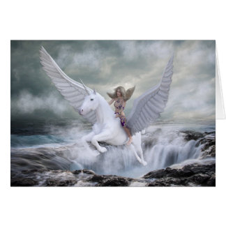 Magical Unicorn Flying out of the Ocean Blank Card
