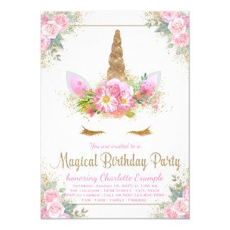 Magical Unicorn Girls Birthday Party Invitations