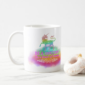 Magical Unicorn Girly Pastel Rainbow Colors Quote Coffee Mug