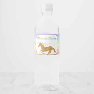 Magical Unicorn Nectar Rainbow Gold Water Bottle Label