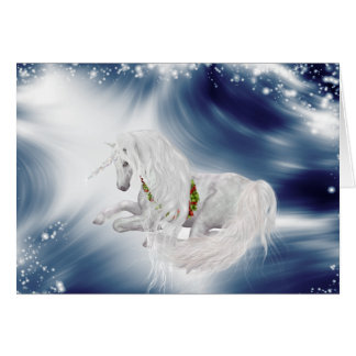 Magical Unicorn on Deep Blue  Holiday Greeting Card