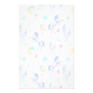 Magical Unicorn Pattern Watercolor Fantasy Design Stationery Paper